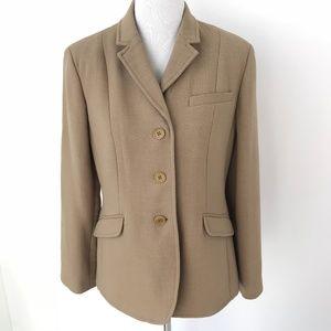 Talbots Petites 100% Wool Blazer Jacket Camel